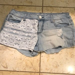 Light wash jean shorts with lace- 9
